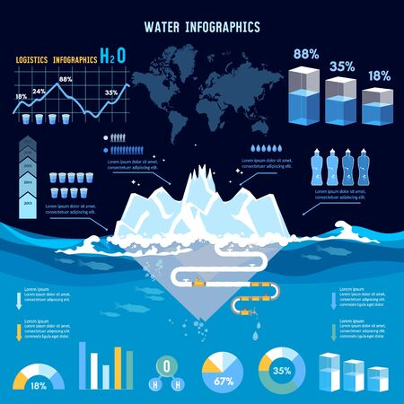 Water infographics total water resources reserves and water consumption presentation template. World water consumption information 스톡 콘텐츠 - 126421718