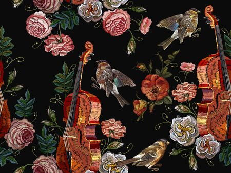 Embroidery violin, birds and roses flowers pattern. Classical embroidery musical violin, titmouse,  buds of flowers roses seamless pattern. Fashion music art, template for clothes, t-shirt design art Illustration