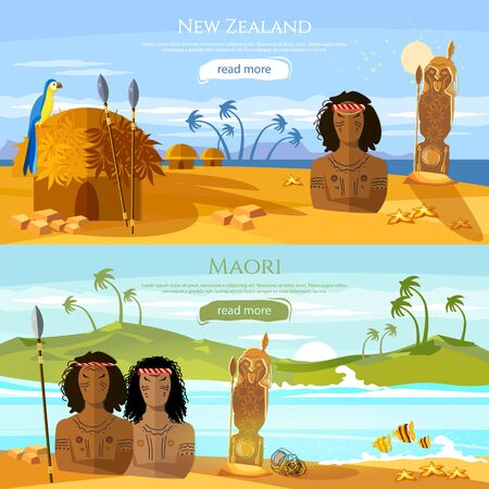 New Zealand banners. Village of aboriginals Maori. People of Maori, tradition and culture New Zealand. Mountains and beach landscape, natives 스톡 콘텐츠 - 126421724