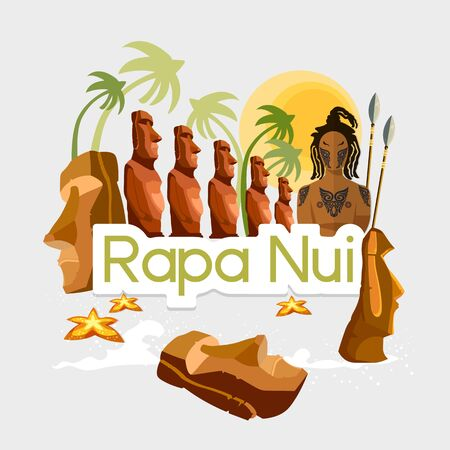 Travel to Polynesia. Traditions and culture,  Welcome to Easter Island. Collection of symbolic elements. Template travel background