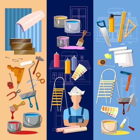 House repair banner. Painter man work with roller set. Professional instrument of painter.  Planning and design of home repair