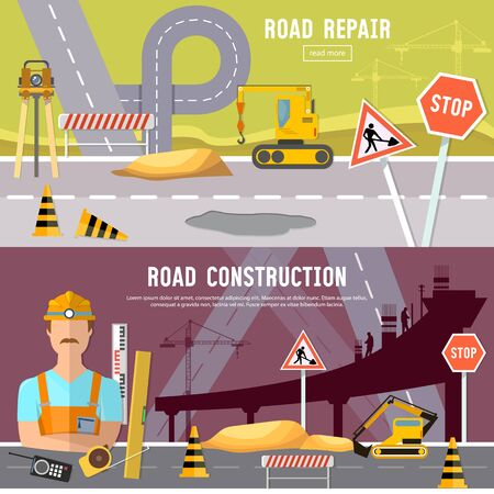 Road construction and road repair banner. Repair is expensive in the city. Road works construction and repair elements Vectores
