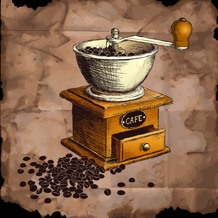 coffee mill: coffee mill color. vector illustration