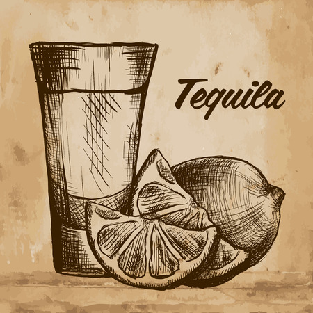 Bottle of tequila with lime and glass. vector illustration 向量圖像