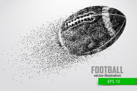 Silhouet van een voetbalbal uit deeltje. Achtergrond en tekst op een aparte laag, kleur kan met één klik worden gewijzigd. Stockfoto - 66078318