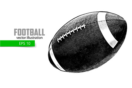 silhouette of a football ball. Background and text on a separate layer, color can be changed in one click.