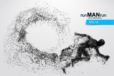 Silhouet van een rennende man uit deeltjes. Tekst en achtergrond op een aparte laag, kleur kan met één klik worden gewijzigd.