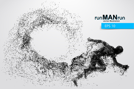 Silhouette of a running man from particles. Text and background on a separate layer, color can be changed in one click. Фото со стока - 66078328