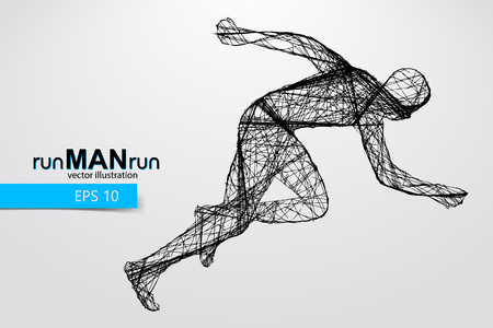 Silhouette of a running man. Text and background on a separate layer, color can be changed in one click. Running man Illustration