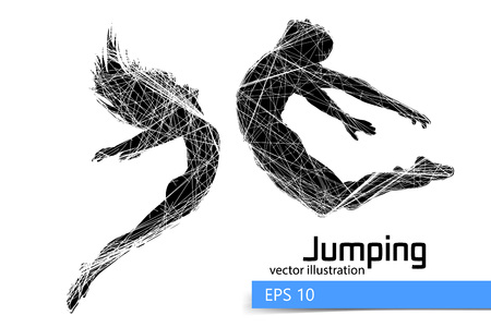 Silhouette of a jumping man and girl. Text on a separate layer, color can be changed in one click.