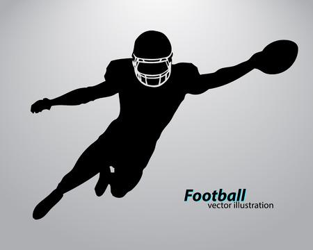 Sagoma di un giocatore di football. Sfondo e testo su un livello separato, il colore può essere modificato in un clic. Rugby. Football americano Archivio Fotografico - 67497344