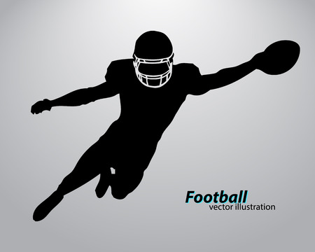 silhouette of a football player. Background and text on a separate layer, color can be changed in one click. Rugby. American football Stok Fotoğraf - 67497344