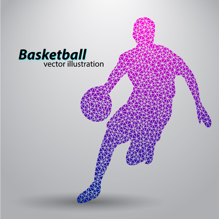 Basketball player of the triangles. Background and text on a separate layer, color can be changed in one click Illustration