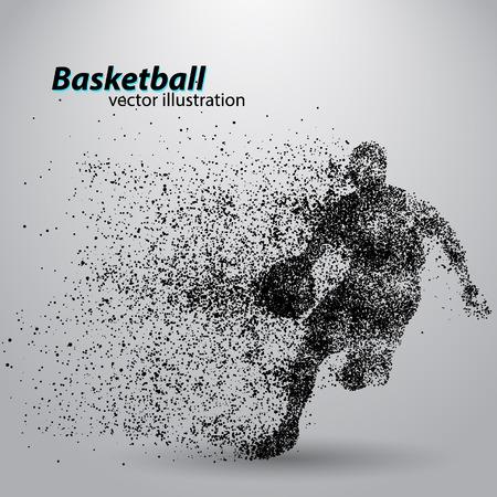 粒子からのバスケット ボール選手。別のレイヤーの背景とテキスト色をワンクリックで変更できます。バスケット ボールの概要