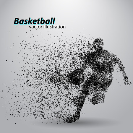 Basketball player from particles. Background and text on a separate layer, color can be changed in one click. Basketball abstract Stock fotó - 67497367