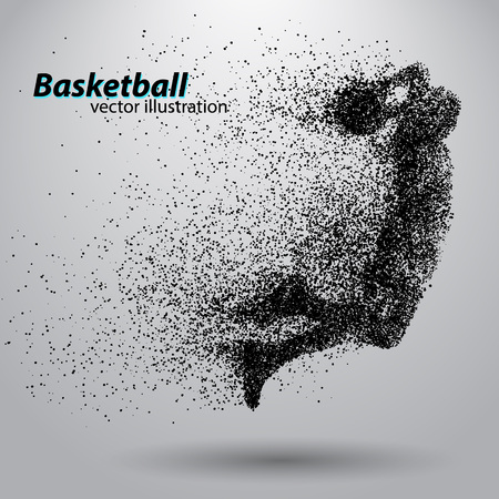 Basketball player from particles. Background and text on a separate layer, color can be changed in one click. Basketball abstract Stok Fotoğraf - 67497375