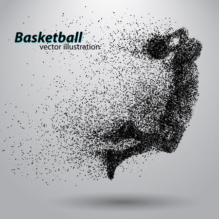 Jugador de baloncesto a partir de partículas. Antecedentes y texto en una capa separada, color se puede cambiar en un solo clic. abstracta de baloncesto