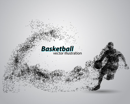 klik: Basketball player from particles. Background and text on a separate layer, color can be changed in one click. Basketball abstract