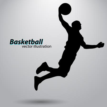 Silhouette d'un joueur de basket-ball. Fond et texte sur un calque séparé, la couleur peut être changée en un clic Vecteurs