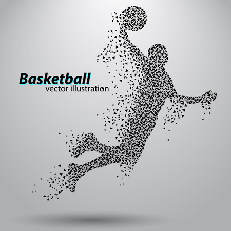 Basketball player of the triangles. Background and text on a separate layer, color can be changed in one click 일러스트