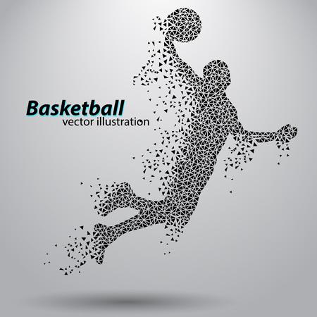 Basketball-Spieler der Dreiecke. Hintergrund und Text auf einer separaten Ebene, Farbe kann mit einem Klick geändert werden Standard-Bild - 67497391