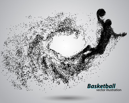 Basketbalspeler van deeltjes. Achtergrond en de tekst op een aparte laag, kleur kan worden veranderd in een klik. Basketball abstract Vector Illustratie