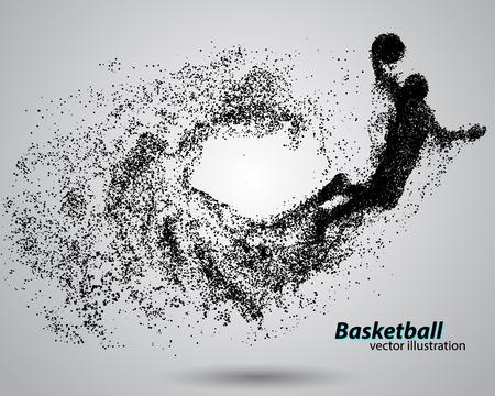 Jugador de baloncesto a partir de partículas. Antecedentes y texto en una capa separada, color se puede cambiar en un solo clic. abstracta de baloncesto Ilustración de vector