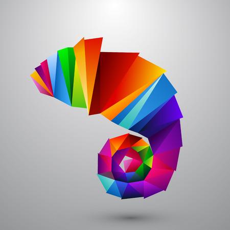 Kameleon van kleur driehoeken. Achtergrond op een aparte laag, kleur kan worden veranderd in een klik.
