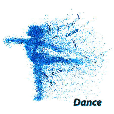 Silhouette of a dancing girl from particles. Background and text on a separate layer, color can be changed in one click.