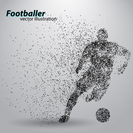 silhouet van een voetballer van deeltjes. Tekst en achtergrond op een aparte laag, kleur kan worden veranderd in een klik.