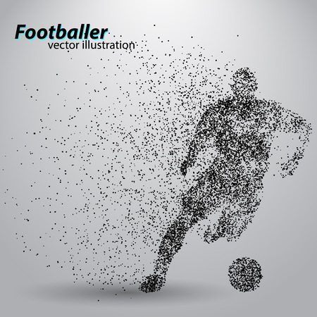silhouette of a football player from particles. Text and background on a separate layer, color can be changed in one click.