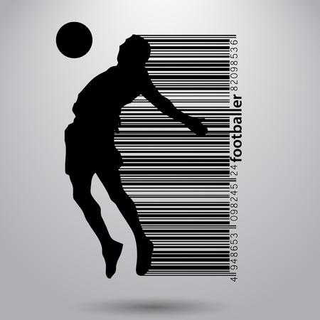Silhouette d'un joueur de football. Texte et arrière-plan sur un calque séparé, couleur peut être changée en un seul clic. Banque d'images - 67497446
