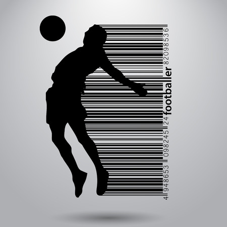 Silhouette eines Fußballspielers. Text und Hintergrund auf einer separaten Ebene, Farbe kann in einem einzigen Klick verändert werden. Standard-Bild - 67497446