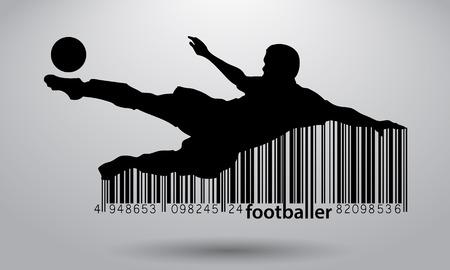 Silhouette eines Fußballspielers. Text und Hintergrund auf einer separaten Ebene, Farbe kann in einem einzigen Klick verändert werden. Standard-Bild - 67497456