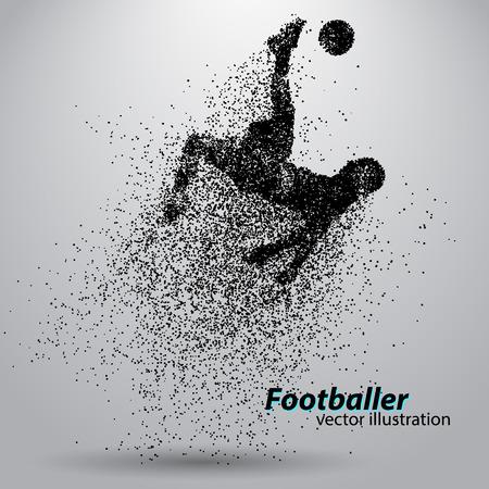 silhouet van een voetballer uit deeltjes. Tekst en achtergrond op een aparte laag, kleur kan met één klik worden gewijzigd.