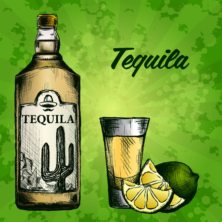 Bottle of tequila with lime and glass. painted by hand. Text and background on separate layers Vettoriali