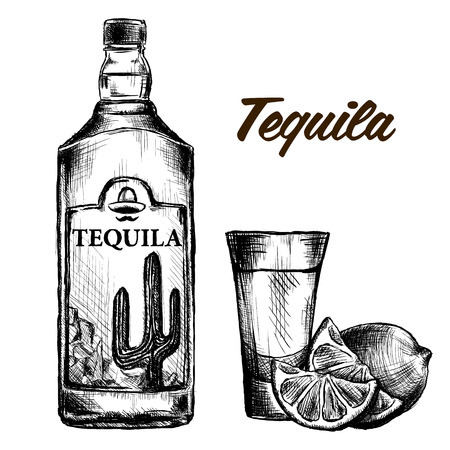 Bottle of tequila with lime and glass. painted by hand. Text and background on separate layers Illustration