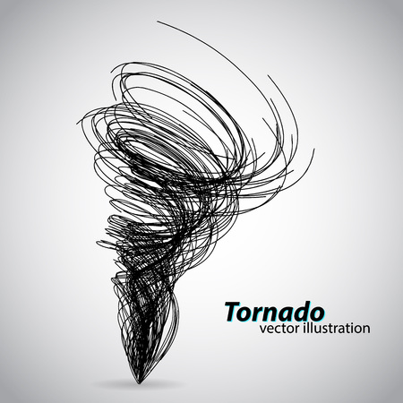 Tornado from curves and spirals. illustration. Text and background on a separate layer, color can be changed in one click. Ilustracja