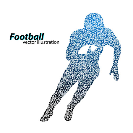 silhouette of a football player from triangle. Background and text on a separate layer, color can be changed in one click. Rugby. American football Illustration