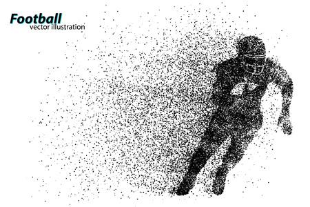 silueta de un jugador de fútbol de partículas. Antecedentes y texto en una capa separada, color se puede cambiar en un solo clic. Rugby. Fútbol americano