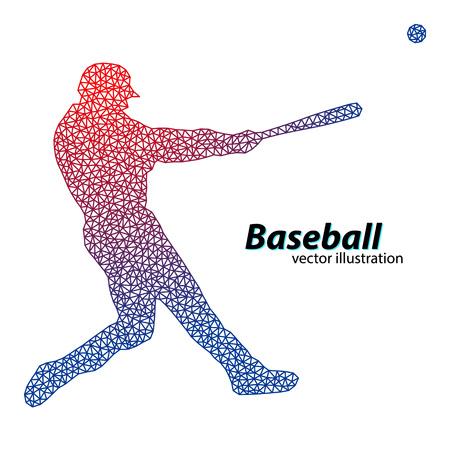 silhouette d'un joueur de baseball du triangle. Texte sur un calque séparé, la couleur peut être changée en un clic Vecteurs