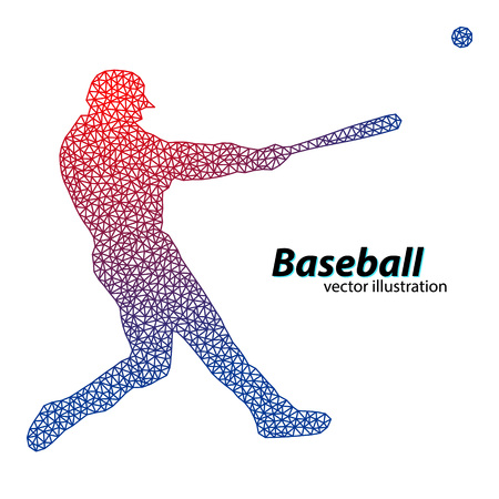 base: silhouette of a baseball player from triangle. Text on a separate layer, color can be changed in one click