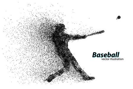 Silhouette di un giocatore di baseball da particelle. Testo su un livello separato, il colore può essere cambiato in uno scatto Archivio Fotografico - 67503127