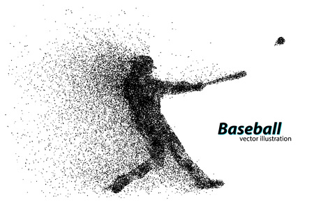 silhouette of a baseball player from particle. Text on a separate layer, color can be changed in one click Çizim