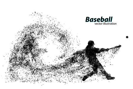 Silhouette eines Baseball-Spieler von Teilchen. Text auf einer separaten Ebene, Farbe kann mit einem Klick geändert werden Standard-Bild - 67503130