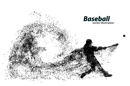 silhouette of a baseball player from particle. Text on a separate layer, color can be changed in one click Иллюстрация