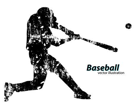 silhouet van een honkbalspeler. Tekst op een aparte laag, kleur kan worden veranderd in één klik
