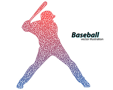 homerun: silhouette of a baseball player from triangle. Text on a separate layer, color can be changed in one click