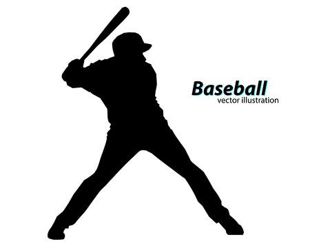 Silhouette eines Baseball-Spieler. Text auf einer separaten Ebene, Farbe kann mit einem Klick geändert werden Standard-Bild - 67503140