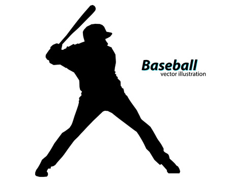 one color: silhouette of a baseball player. Text on a separate layer, color can be changed in one click